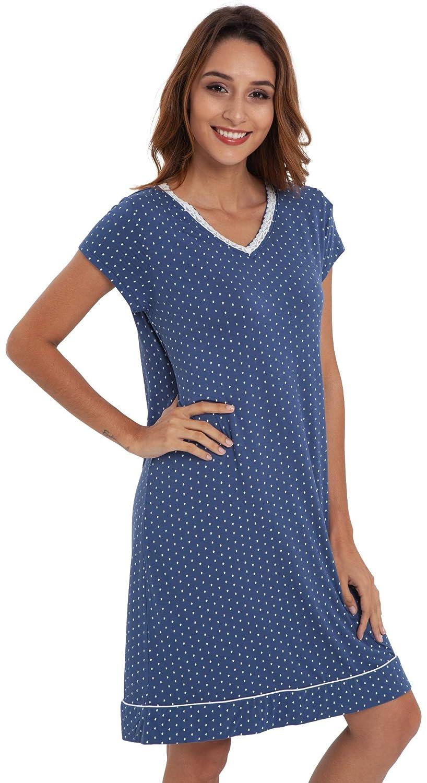 Sapphire Print LazyCozy Women's Sleepwear V Neck Nightshirt Short Sleeve Nightgown