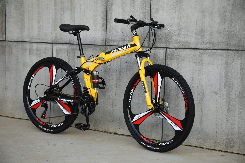 CDFC Deportes/Bicicleta de montaña Plegables 24/26 Pulgadas 3 Cortador de Ruedas, Amarillo