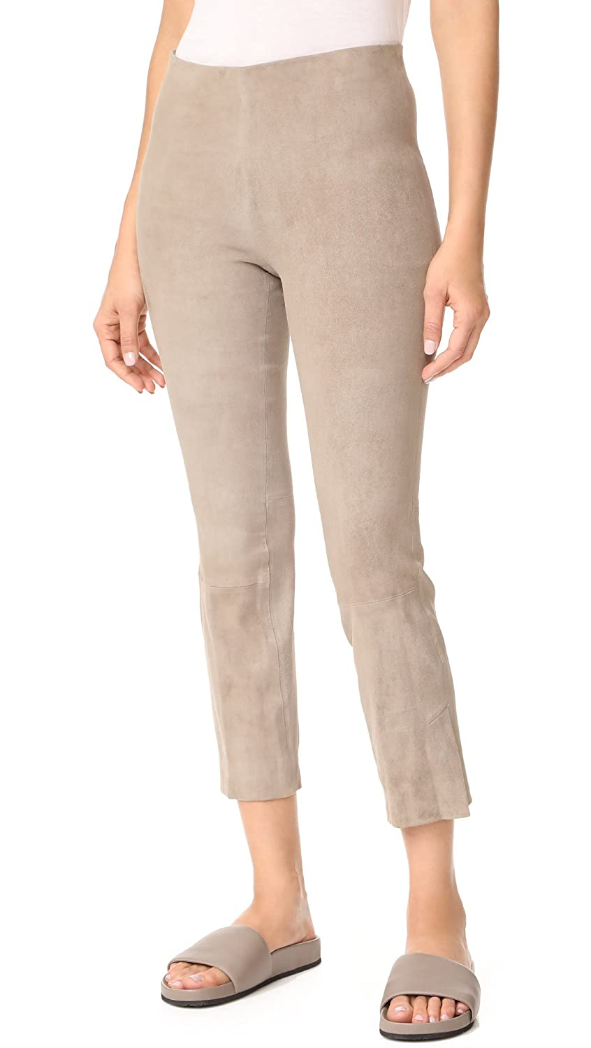 Vince Women's Stretch Suede Split Hem Cropped Leggings Ragweed Large V420921225