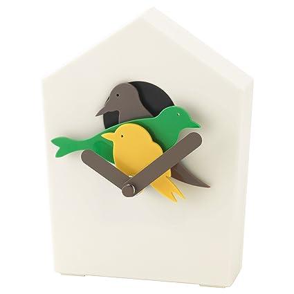 IKEA STARHOLK moderno reloj de cuco - Reloj de pared en color blanco color con pájaro. (producto dimensiones: 16 cm de altura): Amazon.es: Hogar