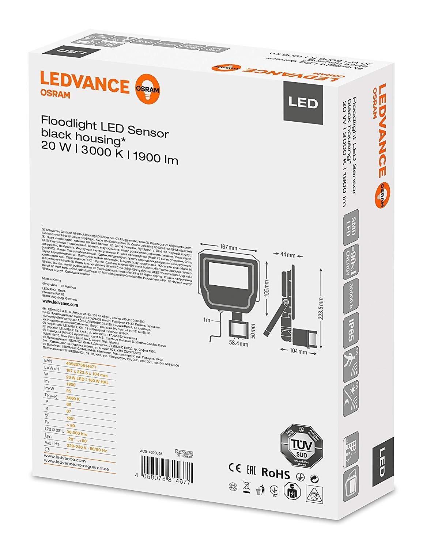 LEDVANCE Floodlight LED Sensor 20 W Negro A - Proyectores (20 W ...