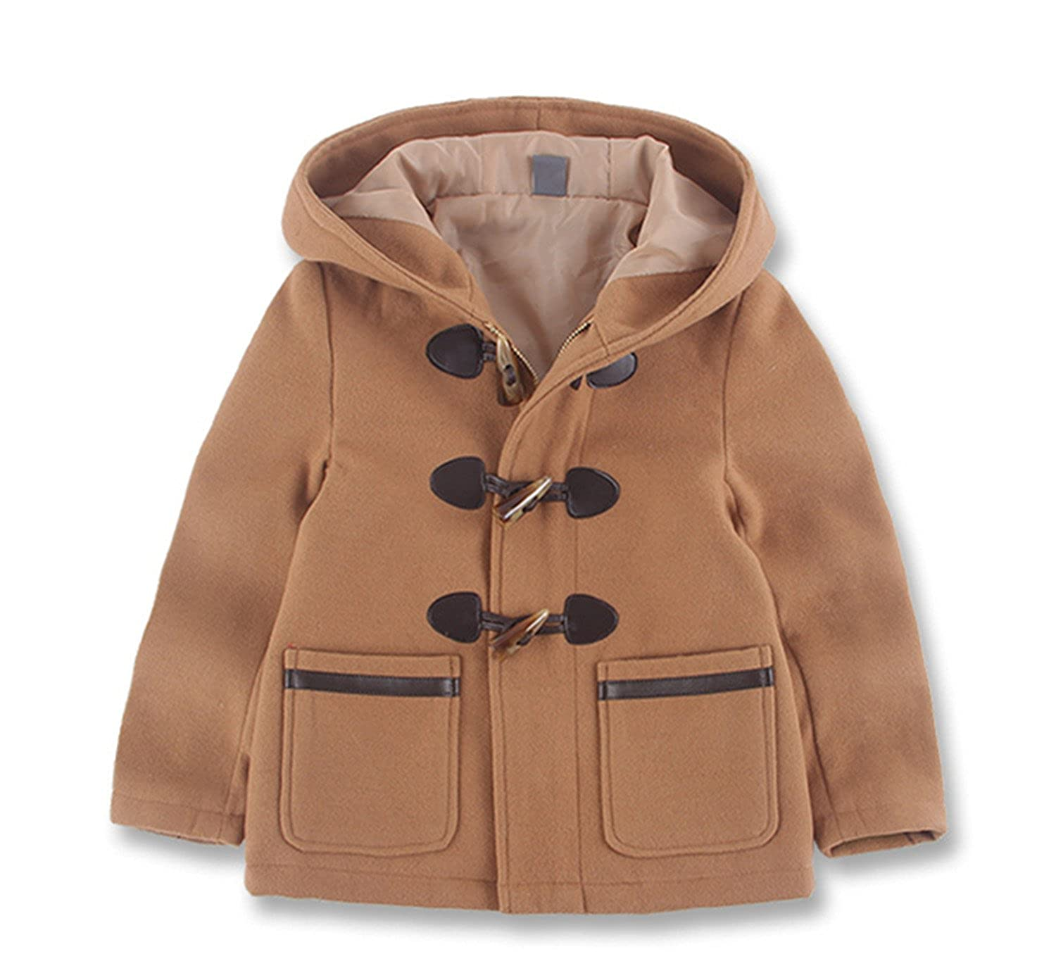 Beyond© Kids Boy Cute Winter Wool Blended Outerwear Duffle Hooded Coat