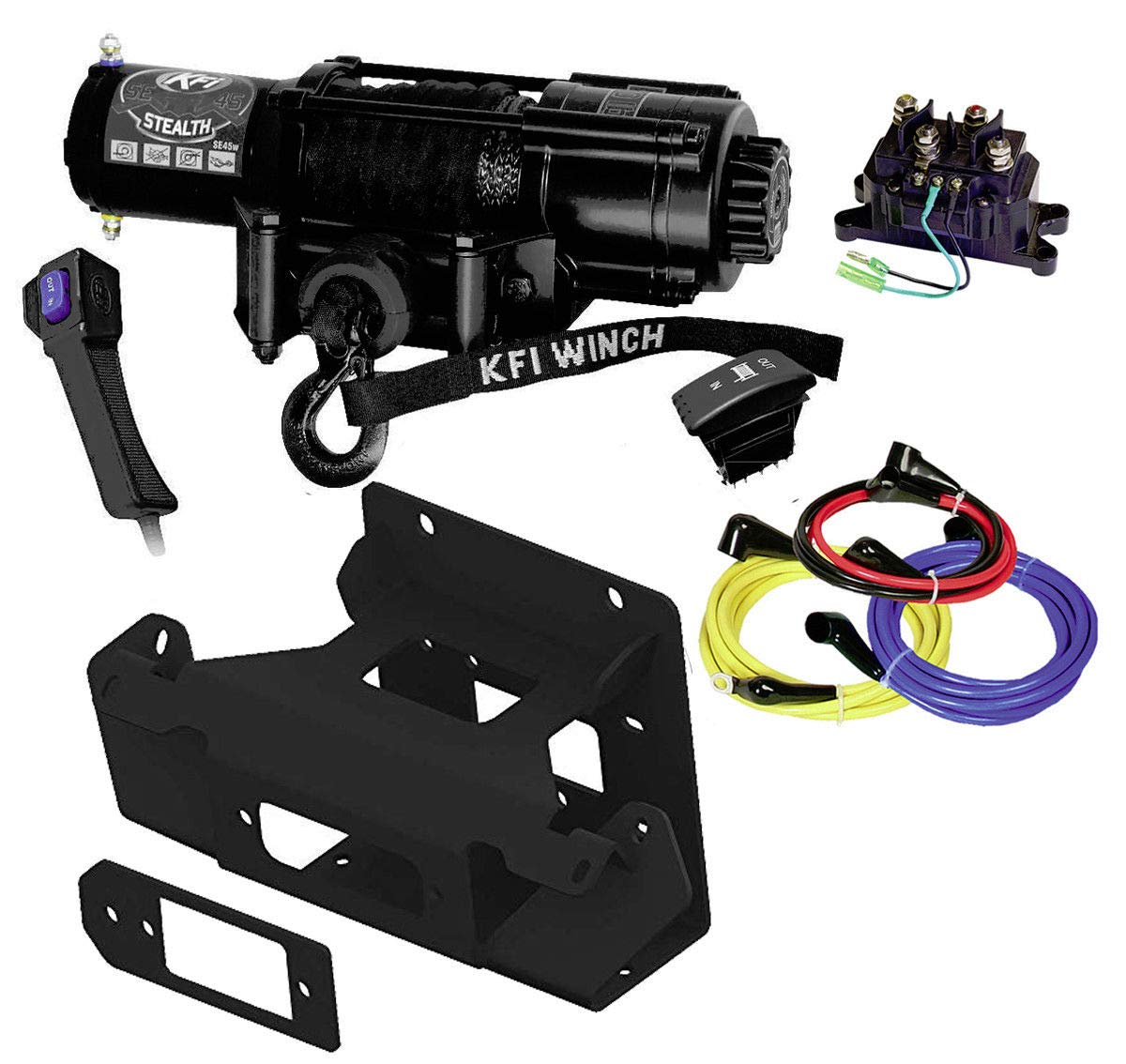 KFI Combo Kit - SE45w-R2 4500lbs Wide Stealth Winch, 101520 Mount Bracket, Wiring, Switches, Remote - Can-Am Maverick X3 & X3 Max