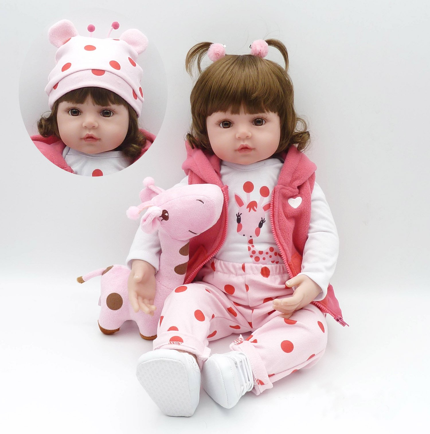 Pursue Baby Soft Floppy Body Real Life Toddler Princess Girl Doll, Little Giraffe Emily, 24 Inch Lifelike Weighted Reborn Toddler Infant Doll Toy Snuggle Children Gift
