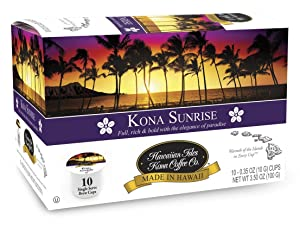 Hawaiian Isles Kona Coffee Co. Kona Sunrise -Serve K-Cup Pods Compatible, Medium/Dark Roast, 10 Count