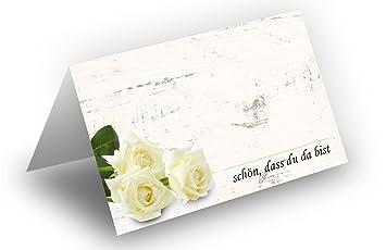50 Tischkarten Rosenstrauss Weiss Holz Hintergrund Uv Lack Glanzend