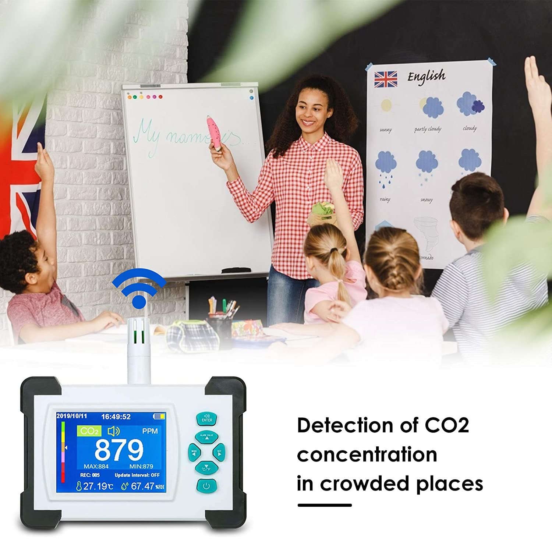 TTLIFE Detector de CO2 Port/átil Medidor de 3.2Detector de Pantalla a Todo Color alta Precisi/ón 0-9999 PPM,Monitor de Temperatura Humedad con Funci/ón de Salida de Datos en PDF y Superaci/ón de Alarma