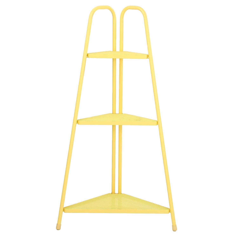 """Marcel 3 Tiered Corner Shelf Rack / 3-Tiered Corner Metal Stand / Plant Stand / 44"""" Tall, Steel Mesh, Indoor Outdoor Garden Patio, Yellow"""