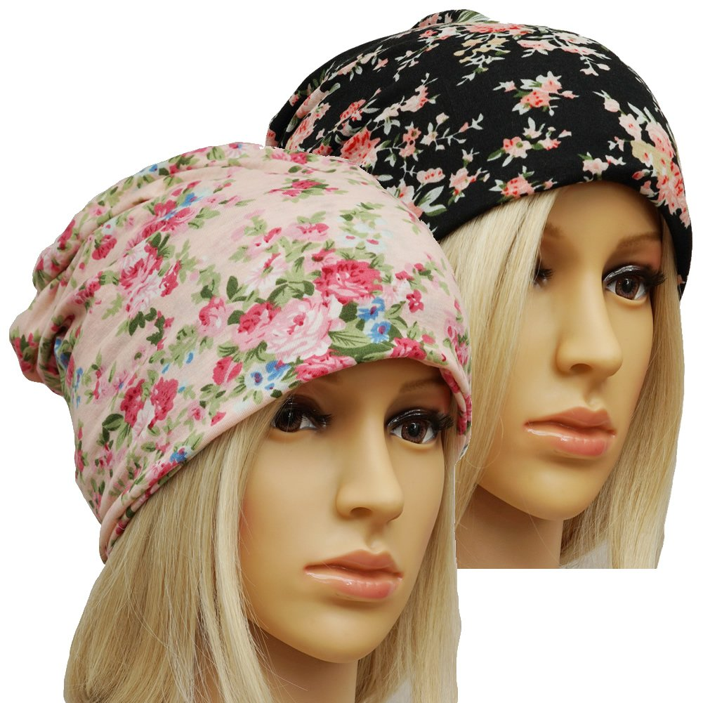 MaxNova Slouchy Beanie Skull Cap Hat Infinity Scarf Soft Chemo Hats for Cancer (2 Pack Black+ Pink Flower)