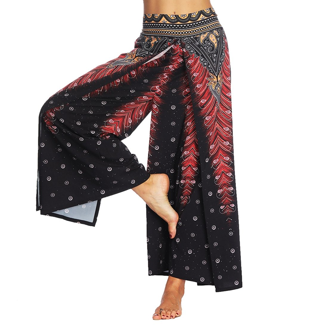 SEVENWELL Women Sexy Waist Wide Leg Floral Pants Casual Summer Gypsy Hippie Boho Yoga Harem Pants Black Peacock Feathers L
