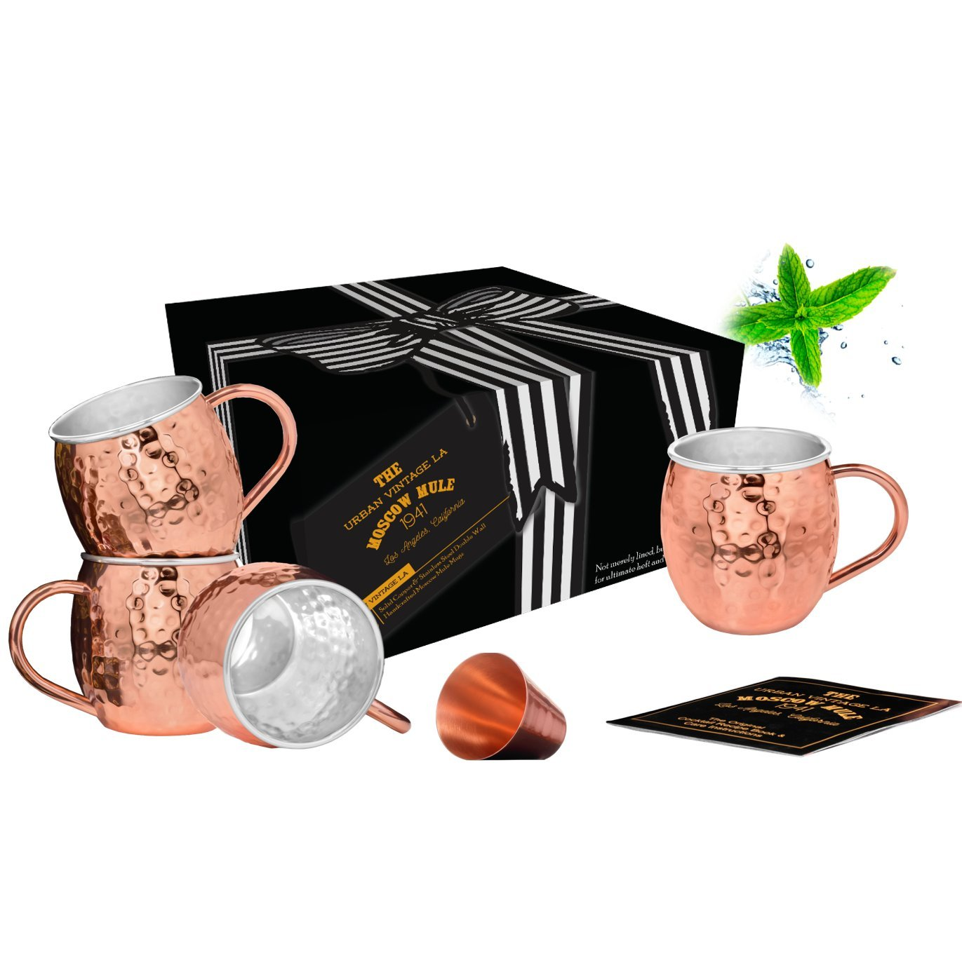 Set of 4 Moscow Mule Copper Mugs with Stainless-Steel Lining | Set of 4 Copper Mugs Lined with Stainless-Steel | Set of 4 Lined Copper Cups for Moscow Mules or Mint Juleps | Set Includes Shot Glass