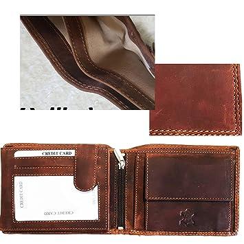 a3b6e283ef82d1 Herren Geldbörse Echtes Leder,Querformat,Braun Vintage, Doppelnaht,mit  Riegel