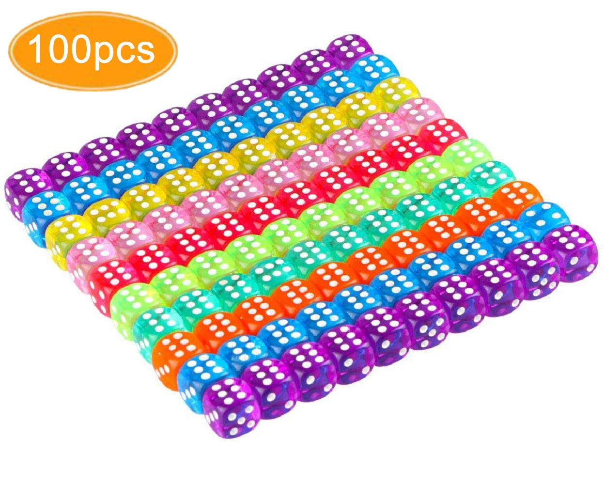 KISSBUTY 100 Pcs Translucent Colors 6-Sided Games Dice Set, 14 mm Round Corner Dice for Playing Games, Like Board Games, Dice Games, Party Favors, Gifts by KISSBUTY