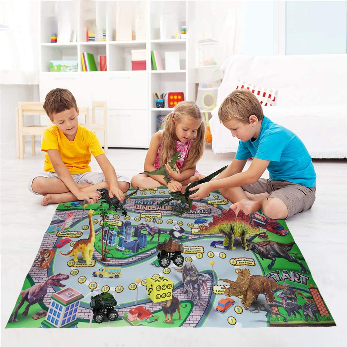 Dinosaur Play Set Pickwoo Dinosaur Toy Figure with Chase Game Play Mat Realistic Dinosaur Playset to Create a Dino World Including Dinosaur Pull Back Car /& Trees STEM Educational Carpet Indoor Outdoor