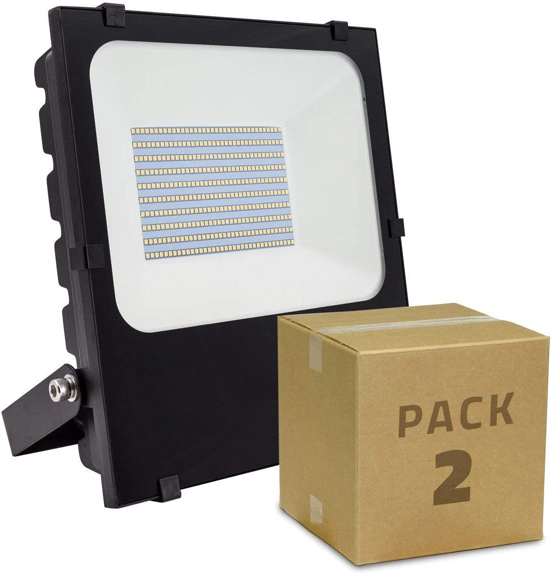 LEDKIA LIGHTING Pack Foco Proyector LED SMD 50W 135lm/W HE PRO (2 un) Blanco Cálido 2800K - 3200K: Amazon.es: Iluminación
