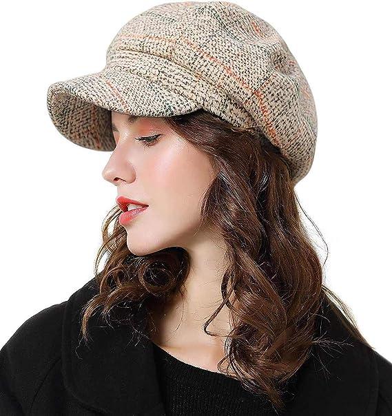 546fbc03cb7004 Womens Newsboy Cap Wool Visor Cabbie Fiddler Winter Spring Octagonal Paperboy  Hat Girls Gift Beige