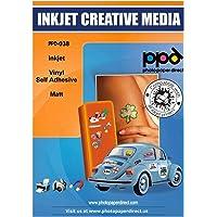 PPD A4 x 40 vellen Inkjet PREMIUM Vinyl Stickerfolie Wit Mat Zelfklevend - speciaal gecoat voor full-colour prints in…