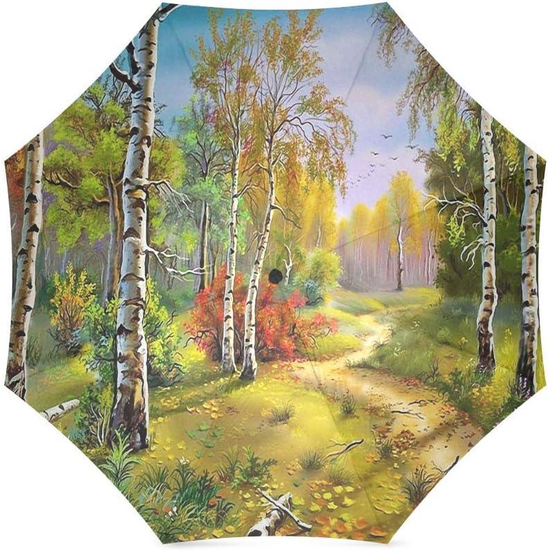 foldable Umbrella Custom Beautiful Landscape Nature Birch Trees Grass Compact Travel Windproof Rainproof