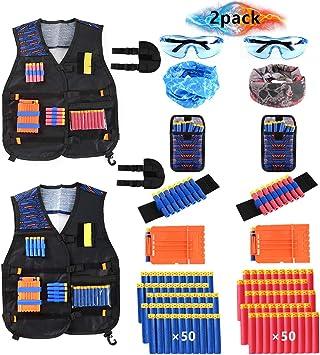 Locisne 2 Kit Chaleco táctico niños Paquetes para Nerf Toy Gun N-Strike Elite Series(con 100 Dardos de Espuma+2 Gafas+2 máscara+2 Clip de Recarga rápida+2 Pulsera+2 dardo Bolsa+2 Funda): Amazon.es: Juguetes y juegos
