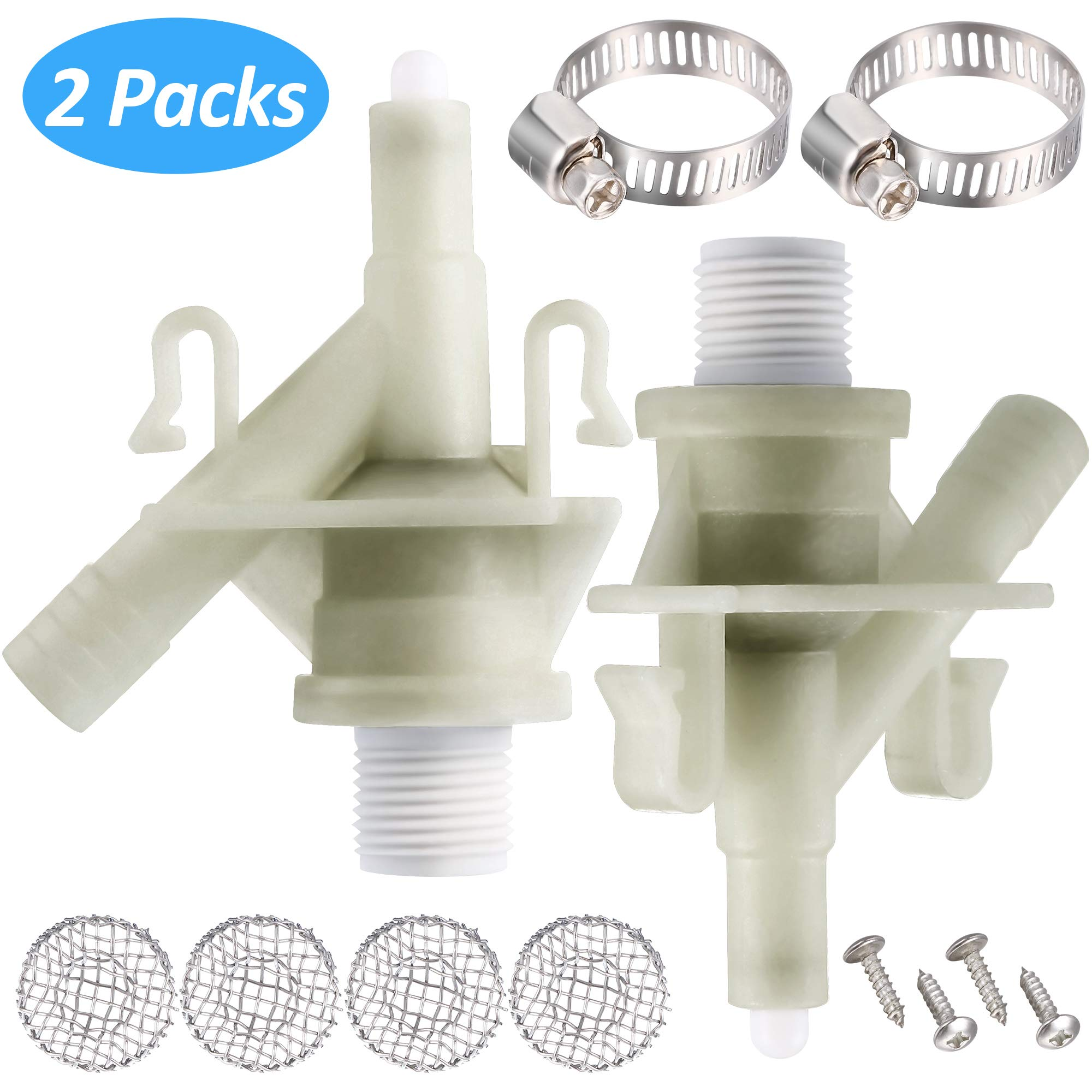 Plastic Water Valve Kit 385311641 for 300 310 320 Series Compatible with Sealand Marine Toilet Replacement and F300/F310 Toilet Water Valve Replacement (2 Pieces) by Mudder