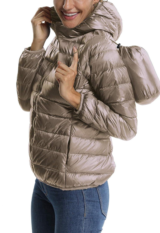 FITTOO Piumino Donna con Cappuccio Giacca Trapuntata Mezza Stagione Cappotto Corto Invernale