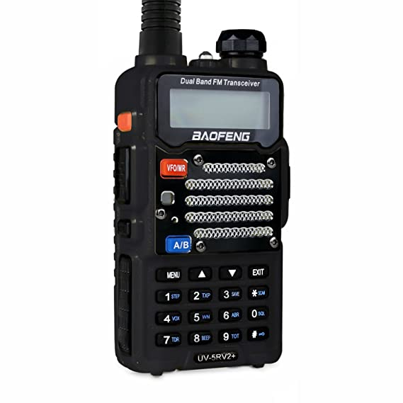 Baofeng Black UV-5R V2+ Plus (USA Warranty) Dual-Band 145-148/420-450 MHz FM Ham Two-way Radio, Improved Stronger Case, Enhanced Features
