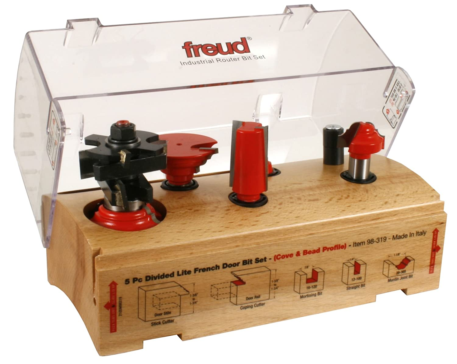 Freud 98-318 5 Piece French Door Router Bit Set - Divided Lite - Ogee Profile 98-308 + 98-328 - 1/2 inch Shank - Edge Treatment And Grooving Router Bits ...