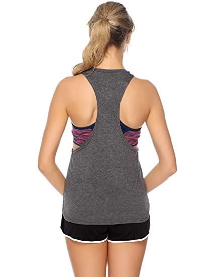iClosam Camiseta Mujer Deporte Sin Mangas Verano Algodón,Camisetas de Tirantes Mujer para Yoga Fitness y Deportes