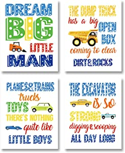 "Colorful Construction Inspirational Quote Art Print-- Boys Truck Tractor Car Canvas Wall Art--(8""X10""X4 pieces, Unframed)--Perfect for Kids Bedroom Playroom Decoration"