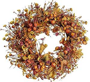 "Fall Berry Wreath, 22"" Autumn Orange Front Door Wreath Harvest Wreath with Pumpkins, Acorns,Maple Leaves Artificial Wreath for Front Door Home Decor Thanksgiving Harvest Festival Decor"