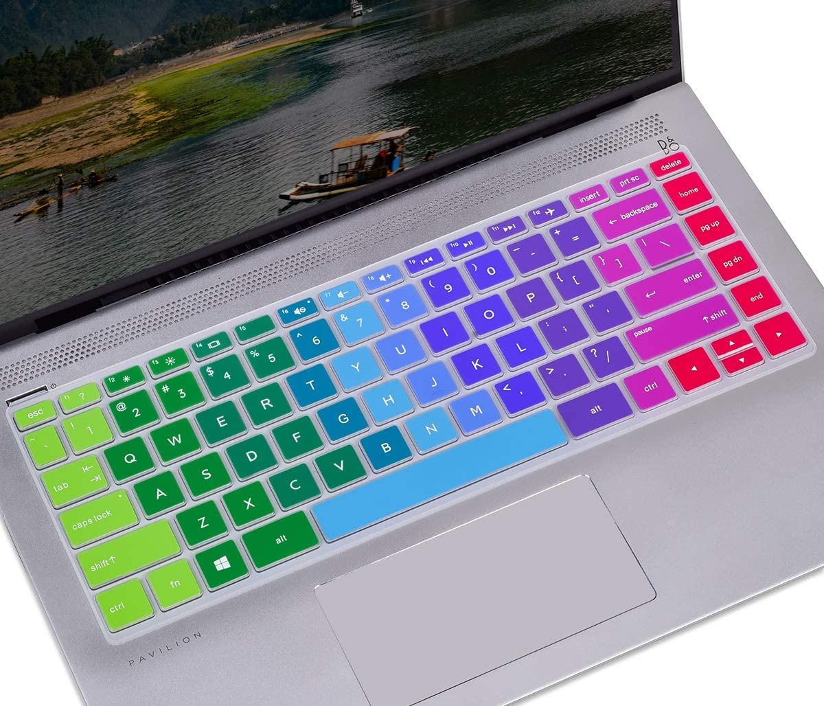 CASEDAO Keyboard Cover for 2019 HP 14 inch Laptop/New HP Pavilion x360 14 inch Keyboard Cover 14M-BA 14M-BF 14M-CD 14M-DH 14-BW 14-cm 14-CF Series HP 14 inch Keyboard Cover Skin, Rainbow