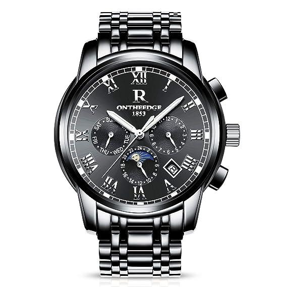 d10f6876ca9d RORIOS Luxury Hombres Automático Mecánico Relojes de Pulsera Roman Number  Business Acero Inoxidable Band Day Calendario