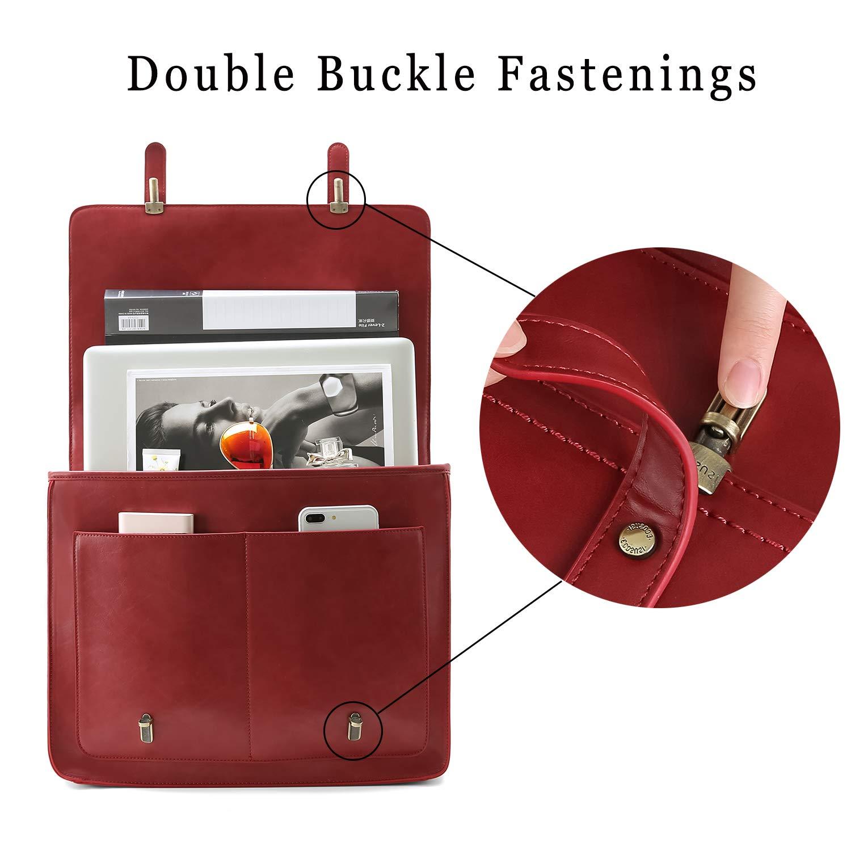 05036c90113b Amazon.com  ECOSUSI Women Briefcase PU Leather Laptop Shoulder Satchel  Computer Bag with Detachable Bow fits 15.6 inch Laptops