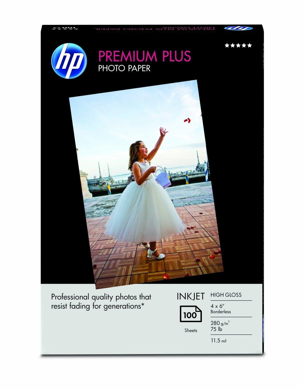 HP Premium Plus Photo Paper, High Gloss (100 Sheets, 4 x 6 Inches borderless)