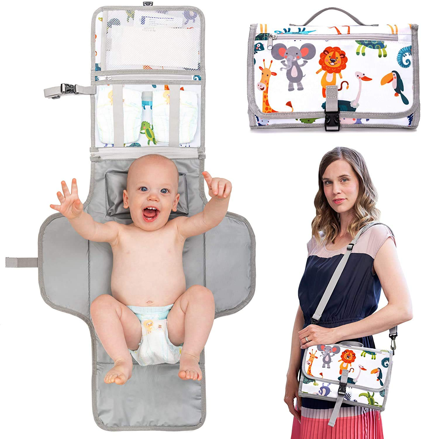 Waterproof Diaper Changing Mat and Diaper Bag Newborn Essentials Must Haves New Model 2021 Portable Changing Pad for Baby Travel Changing Clutch Easily Washable and Hypoallergenic Material
