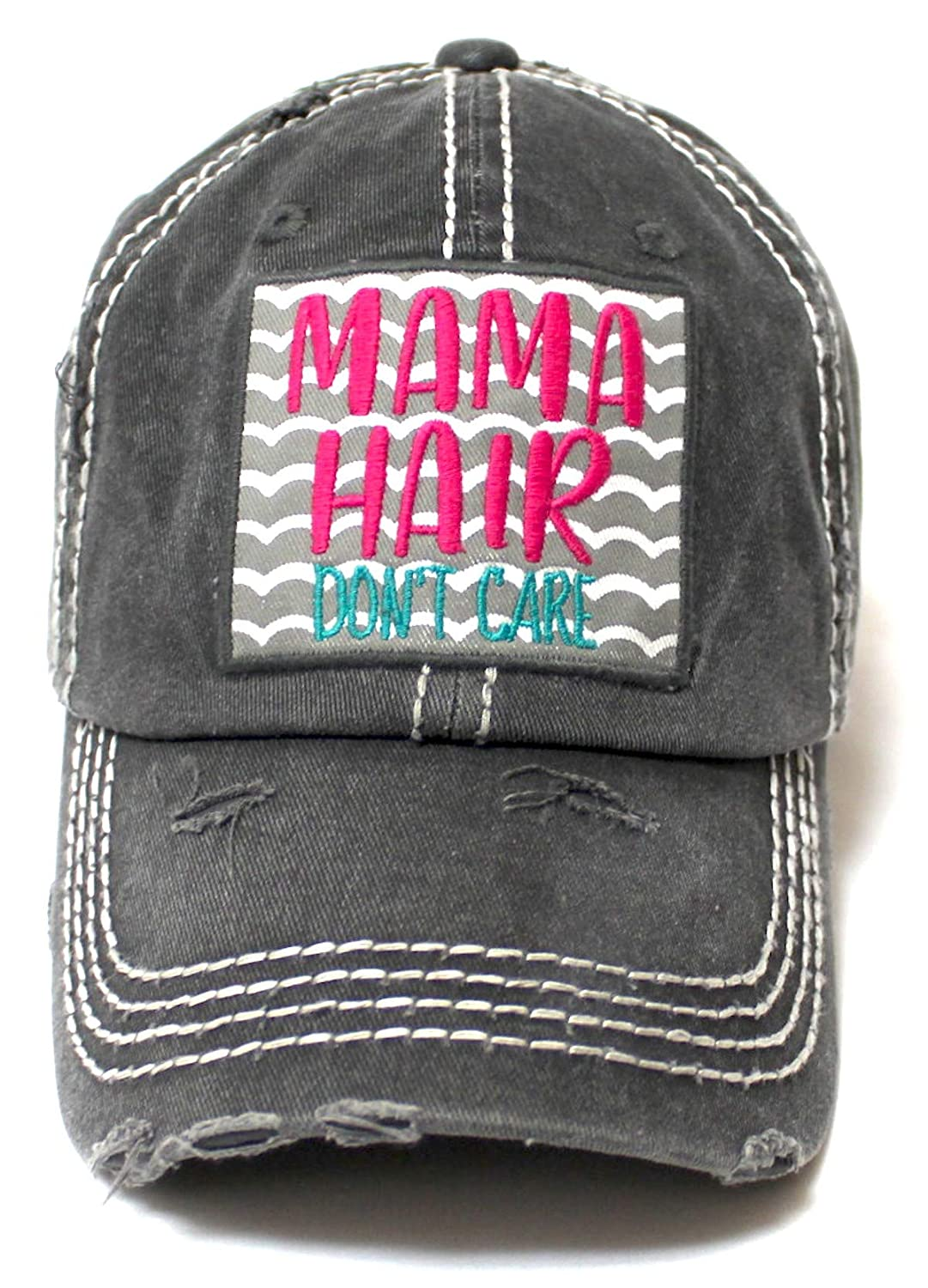 f628b360979d18 CAPS 'N VINTAGE Women's Beach Cap Mama Hair Don't Care Patch Embroidery  Adjustable Baseball Hat, Graphite Black at Amazon Women's Clothing store: