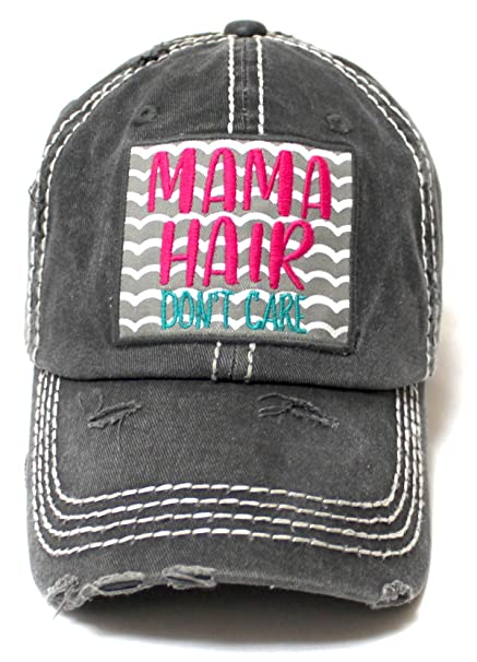 6f3b0b4aa CAPS 'N VINTAGE Women's Beach Cap Mama Hair Don't Care Patch Embroidery  Adjustable Baseball Hat, Graphite Black at Amazon Women's Clothing store: