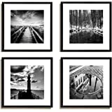 4pcs x black and white famous building motivational office picture photo wood black frame safe lighter