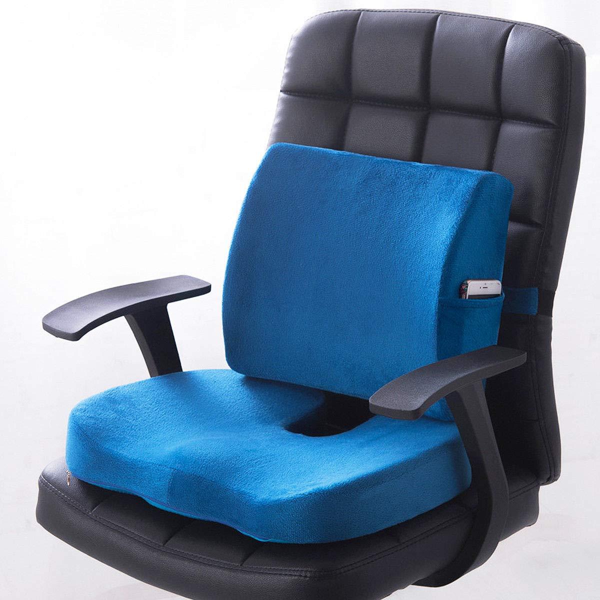 低反発素材腰部クッション バックサポートピロー カーシート 痛み緩和 椅子 ホーム  ブルー B07TZTBXF7