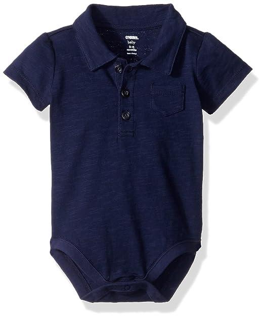 3027db3cc Gymboree Baby Boys Short Sleeve Pocket Polo Bodysuit, Solid Navy 6-12 mo