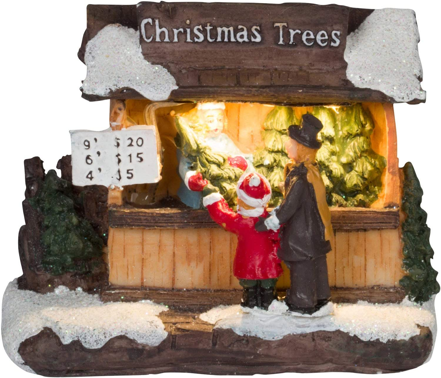 Miniature LED Lighted Christmas Trees Village Shop - Light-Up Tabletop Holiday Building Decorations Home Decor
