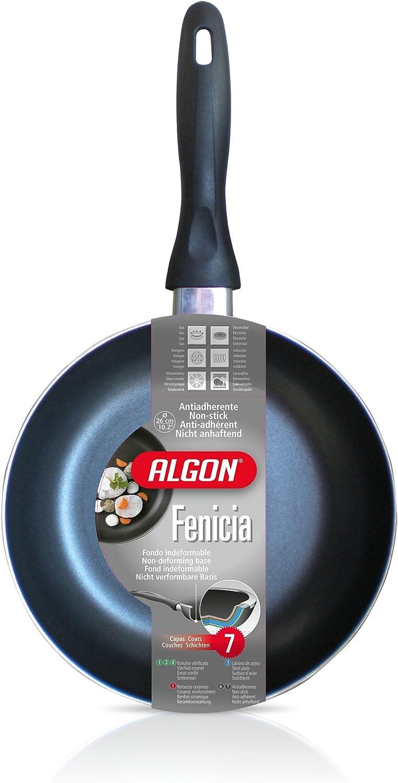 Algon Fenicia Set de 3 sartenes de 20, 22 y 24 cm, Acero, Negro ...
