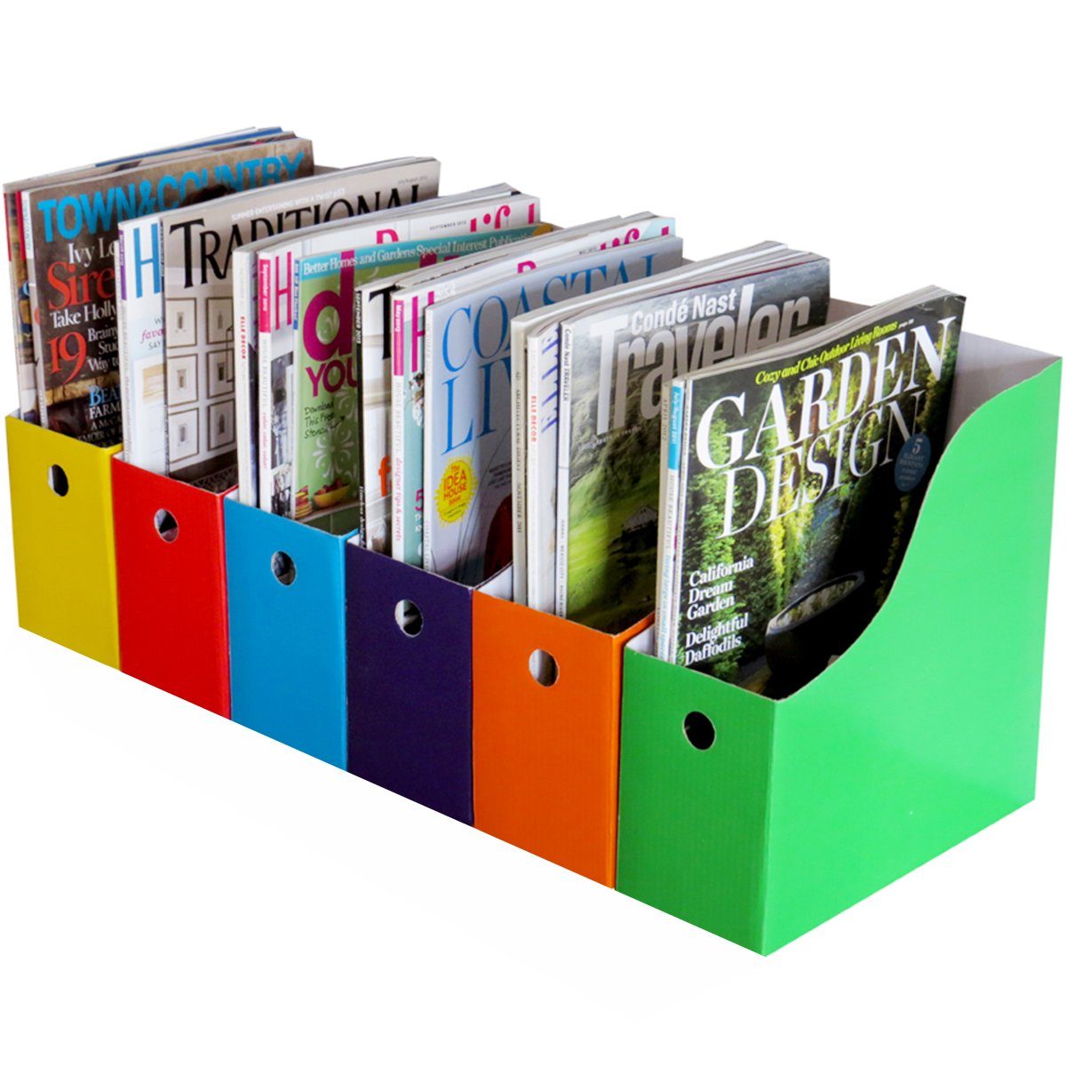 Evelots Set of 12 Magazine File Holders Desk Organizer, File Storage with Labels, Multi-Color