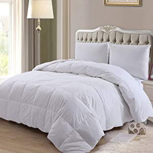 ELNIDO QUEEN Down Comforter with Goose Duck Down and Feather Filling - 100% Cotton Cover - Warmth All Season Duvet Insert - Machine Washable Stand Alone Bed Comforter with Tabs Twin 68×90 Inch