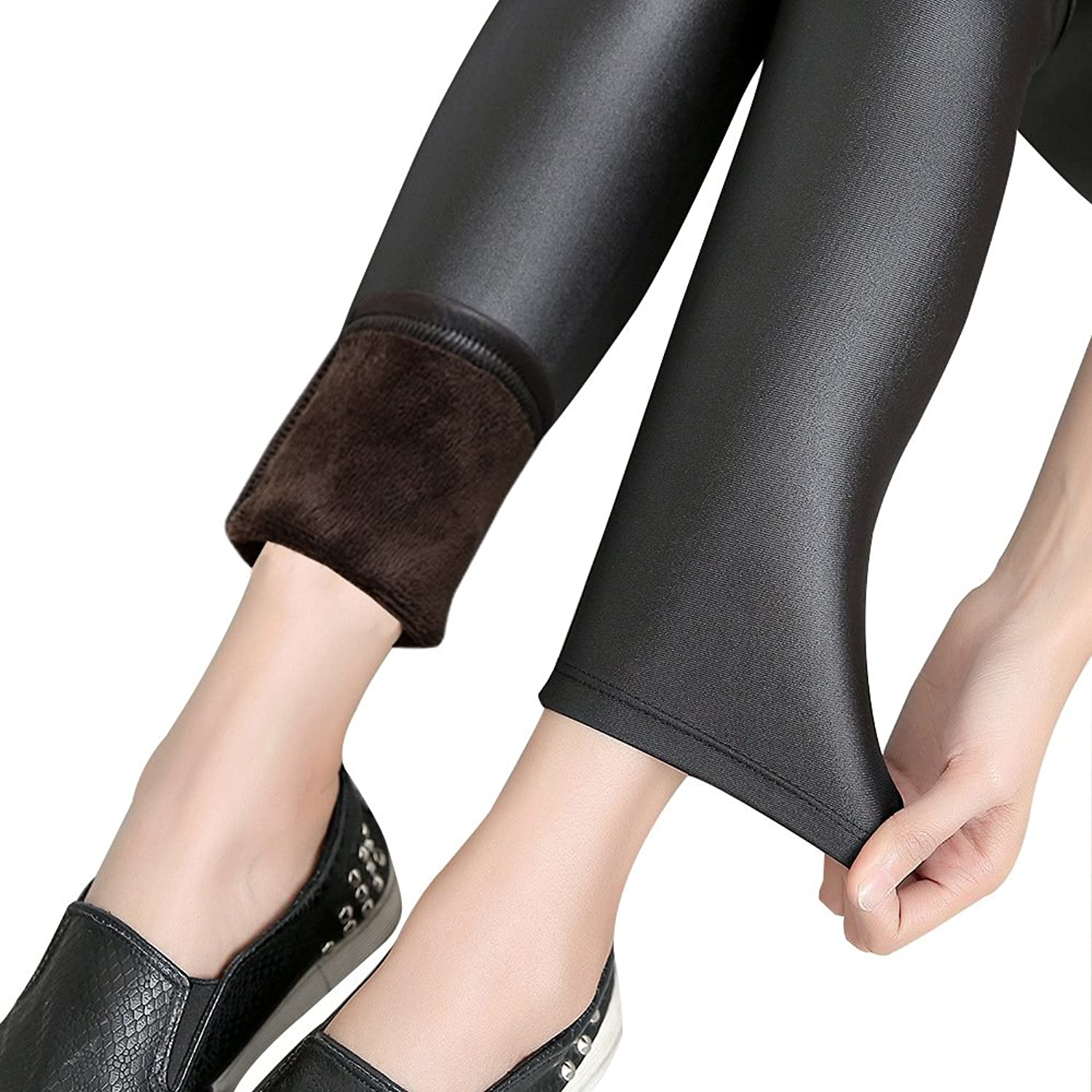 Thermal Pants Women For Winter Black Warm Velvet Insides Faux Leather Stretchy Tight Outdoor Wearing