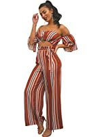 Glamaker Women's Sexy Off Shoulder 2 Pieces Outfits Jumpsuit Crop Tops and Pants Set