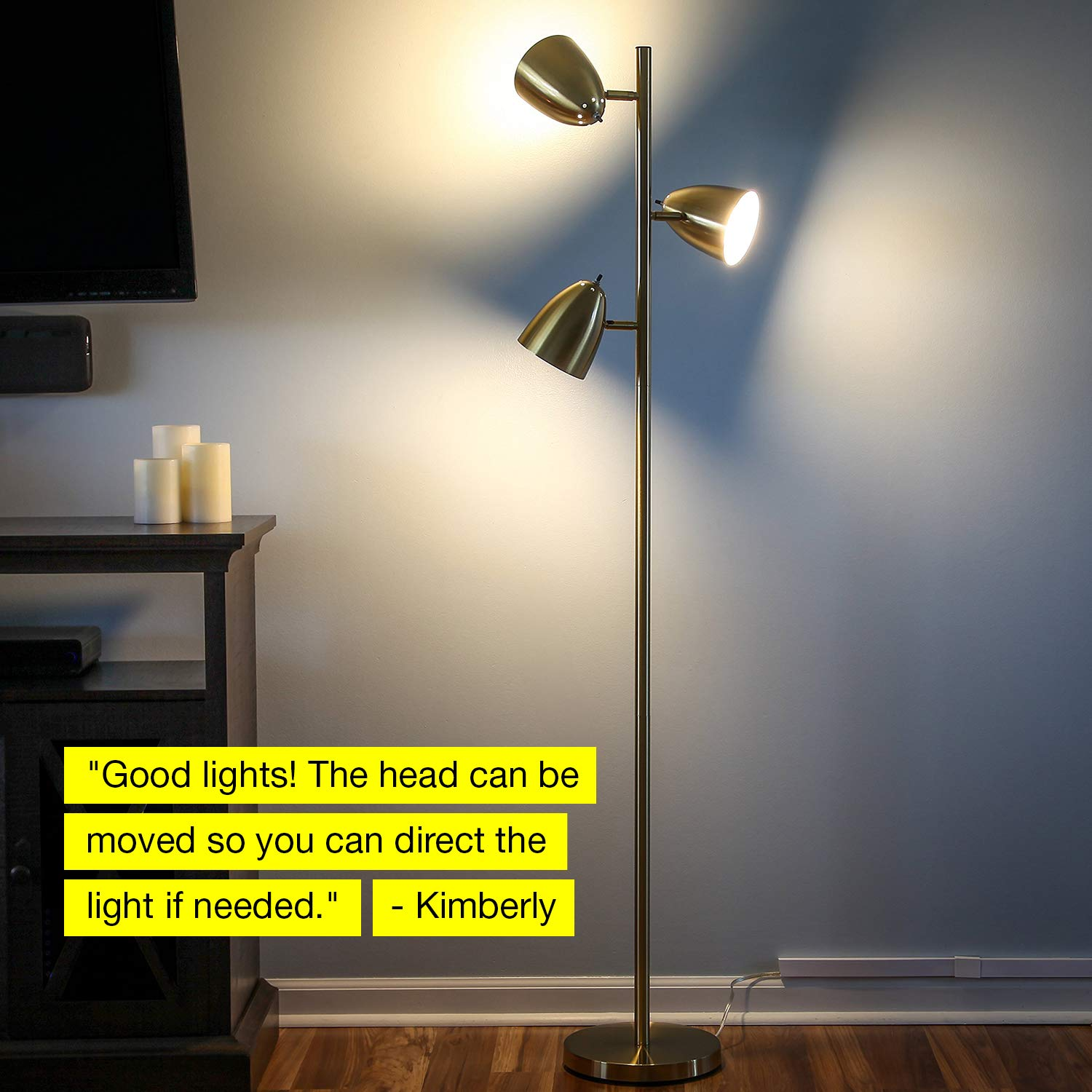 Brightech Jacob - LED Reading and Floor Lamp for Living Rooms & Bedrooms - Classy, Mid Century Modern Adjustable 3 Light Tree - Standing Tall Pole Lamp with 3 LED Bulbs - Antique Brass/Gold by Brightech (Image #8)