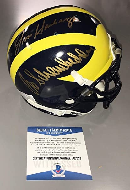 950c967ec2f Jim Harbaugh Bo Schembechler Signed Michigan Wolverines Mini Helmet Beckett  Coa - Beckett Authentication
