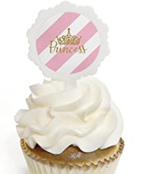 Little Princess Crown - Cupcake Picks with Stickers - Pink and Gold Princess Baby Shower or Birthday Party Cupcake Toppers - 12 Count