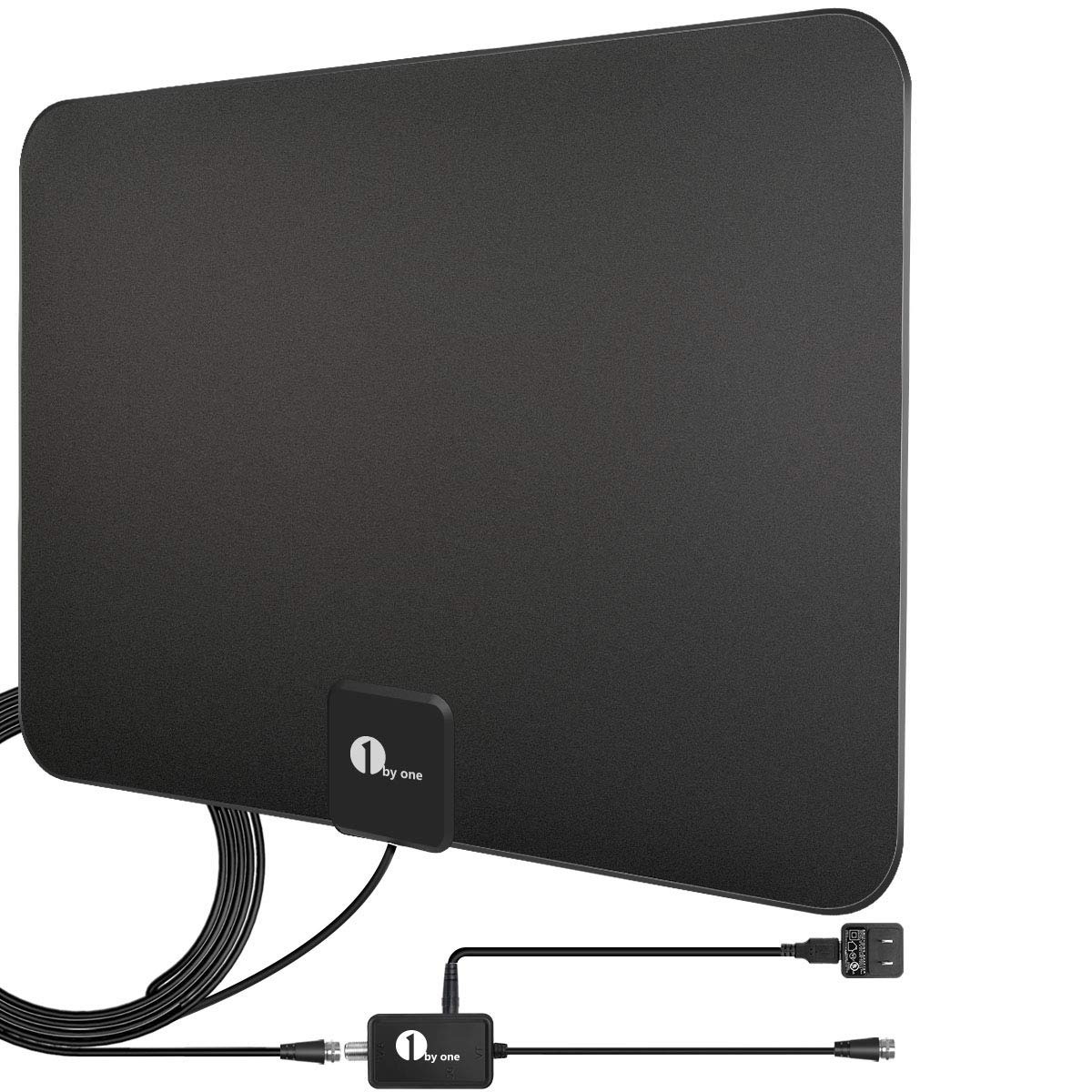 1byone Digital Amplified Indoor HD TV Antenna Up to 80 Miles Range, Amplifier Signal Booster Support 4K 1080P UHF VHF Freeview HDTV Channels with Coax Cable